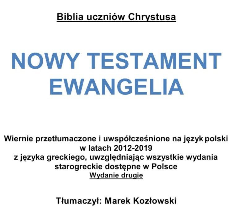Biblia Ewangelia Uczniów Jezusa
